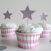 12 Pink and Silver or Blue and Silver Layered Star Cupcake Toppers