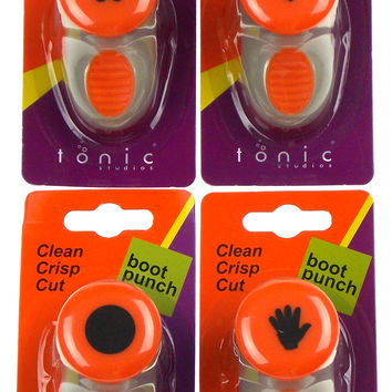 Paper Punches Circle Heart Butterfly Hand Boot Punch Craft Set 4 Tonic Studios