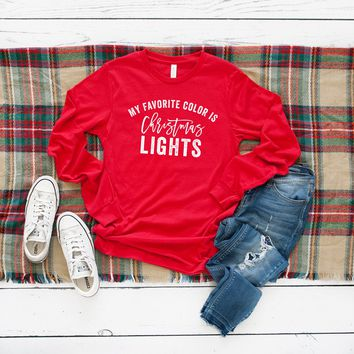 My Favorite Color is Christmas Lights Long Sleeve Graphic Tee