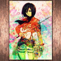 Anime Wall art Mikasa Attack on titan Watercolor digital poster  Mikasa digital print download A3 Manga Mikasa Ackerman Anime poster  DP-18