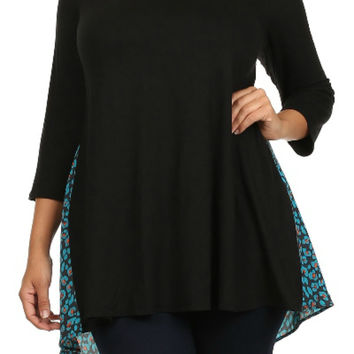 Woven Print Mix Solid Tunic (Plus Size)