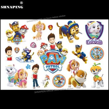 SHNAPIGN Dog team Children Cartoon Temporary Tattoos Sticker Fashion Summer Style Elsa Waterproof Girls Kids Boys Hot