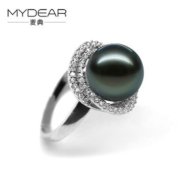 MYDEAR Fine Pearl Jewelry Beauty S925 Silver Rings 100% Real 10-11mm Tahitian Pearl Rings For Women,Jewelry Making Supplies