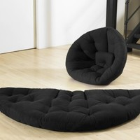 Fresh Futon Nido Convertible Futon Chair/Bed, Black Mattress