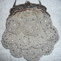Badgley Mischka Silver beaded Wedding Purse Dressy by lipmeister