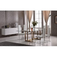 """Adira Modern Glass 79"""" Rectangle Dining Table with Brass"""
