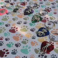 Dogs & Cats Key Chain, 16 Colors Available, Choice Puppy, Kitty, Pet Lover, Animals, Furry Friends, Women Men Kids