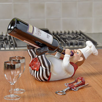 Bottle Holder Chef Themed Decor Kitchen Dining Italian Cook Olive Oil Hold