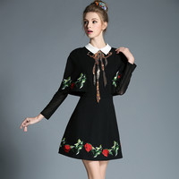 Women Style Autumn Plus Size Sequined Flower Embroidery Contrast Collar Long Sleeve A Line Cape Dress l-5xl