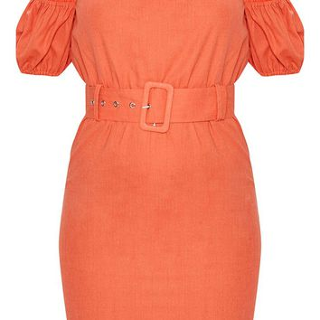 Orange Belt Detail Bardot Shift Dress