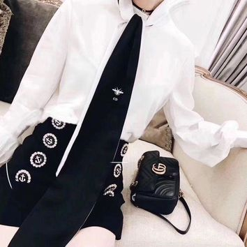 DCCKVQ8 Dior' Women Temperament Fashion Bee Embroidery Necktie Long Sleeve Shirt Double Row Buttons Short Skirt Set Two-Piece