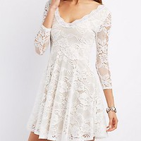 FLORAL LACE V-NECK SKATER DRESS