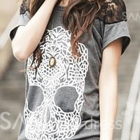 Casual Scoop Neck Lace Embellished Skull Pattern Short Sleeve Women's T-shirt