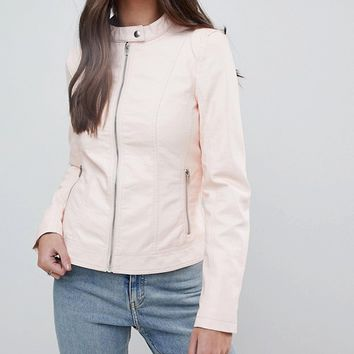 Vila Leather Look Collarless Jacket at asos.com