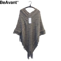 Winter long tassel knitted poncho sweater women Autumn batwing sleeve sweaters and pullovers Fashion