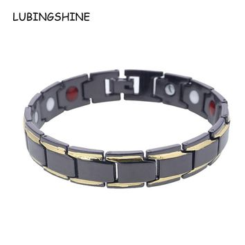 LUBINGSHINE Trendy Black Men's Magnet Bracelets & Bangles Far Infrared Energy Health Copper Bracelets Chain Classic Men Jewelry