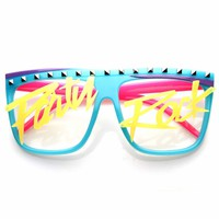 Party Rock Glow-In-The Dark LMFAO Celebrity Neon Retro Horn Rimmed Glasses