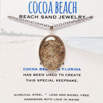Cocoa Beach Sand Jewelry, Florida Sand Jewelry, Souvenir, Travel Inspired Keepsake, Beach Sand Necklace, Bohemian Inspired Style