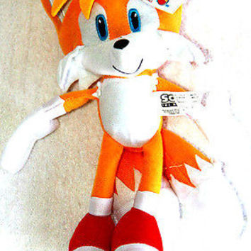 """Sonic the Hedgehog Large Tails Plush 17"""" Yellow Plush Doll-New with tags!"""