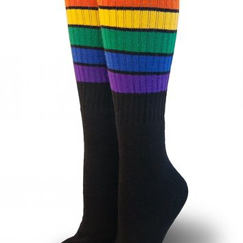 Glow Rainbow Stripe Knee High Tube Socks