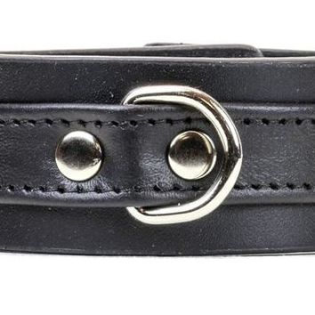 "Black on Black Strip w/ D-Ring Leather Wristband Bracelet Cuff 1-1/4"" Wide"