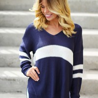 Navy V-Neck Sweater
