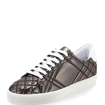 BURBERRY Westford Quilted Metallic Leather Low-Top Sneaker, Dark Gray 42