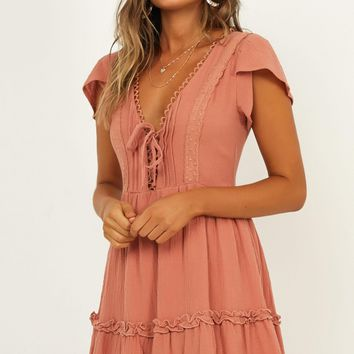 Lost In Paradise Dress In Dusty Rose Produced By SHOWPO