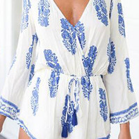 Blue Floral Print Flared Sleeve White Romper