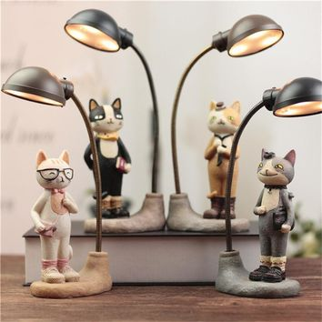 "Cute ""School Cats"" LED Creative Ornamental Night Light Resin Table Lamps"