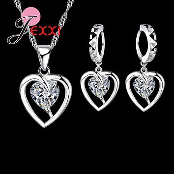 Jemmin New Arrivel Heart Shape 925 Sterling Silver Jewelry Set Bridal Jewelry Necklace Earring Sets For Romantic Wedding
