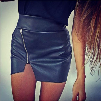 IRREGULAR ZIPPER HIGH WAIST SKIRTS