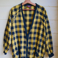 Vintage Womens 1980's Plaid Sweater Jacket Button Down Black and Yellow Plaid Sweater