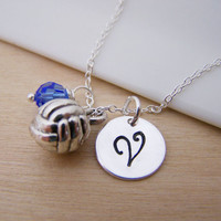 Volleyball Charm Swarovski Birthstone Initial Personalized Sterling Silver Necklace / Gift for Her