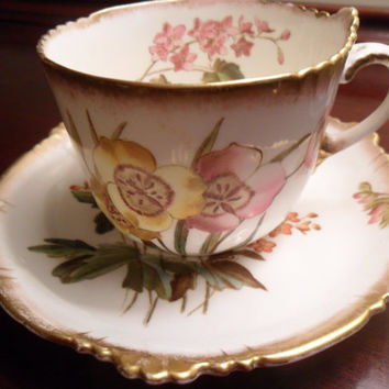 G J & Sons China Teacup and Saucer Set George Jones and Sons Stoke England Crescent China Floral Vintage from Amelie's Farmhouse