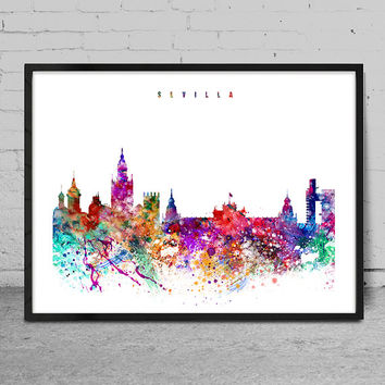Sevilla Print, Poster, Wall art, Sevilla Spain  skyline, City poster, Skyline art, Home Decor, Digital Print-x03