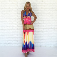 Macramé Print Maxi Dress By SKY