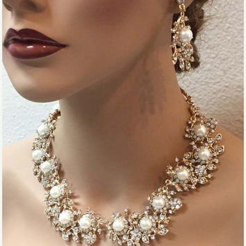 bridal jewelry set, wedding jewelry, Bridal necklace earrings, back drop necklace, pearl jewelry set, crystal jewelry set, Rose gold jewelry