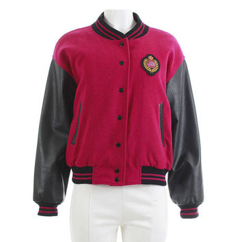 22cc07ef97bc Fuschia Letterman Jacket 90s Clothing Quilted Leather Bomber Jac. KCO  Vintage
