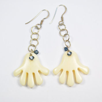 Vintage carved ivory sterling silver fun dangling earrings; party earrings;