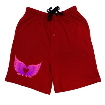 Cute Angel Wings Pair Heart Adult Lounge Shorts - Red or Black