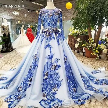 Blue Round O-neck Long Tulle Long Sleeves A-line Arabic Evening Wedding Dress