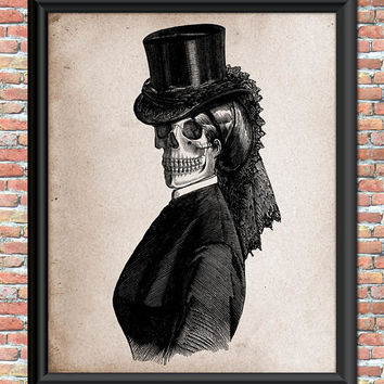 Antique Style Skull in Fancy Hat Gothic Steampunk Halloween Art Print for Home Party Decor Zombie Digital Junk Journal Printable