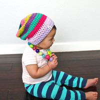 Crochet Slouch Baby Beanie Colorful Striped Size 6 Months - 8 Years