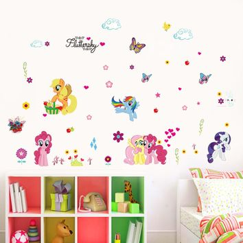 lovely my little pony wall decals for girls room home decoratiive stickers animals cartoon wall art peel & stick kids gift