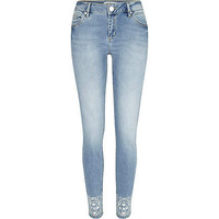 Light wash embroidered Taylor skinny jeans