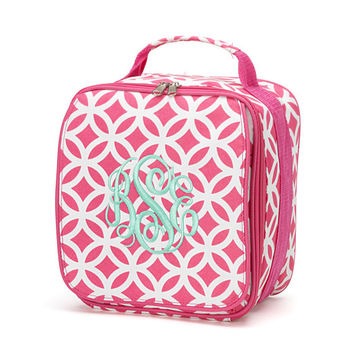 Personalized Kids Sadie Print Lunch box bag Girl monogram in Pink