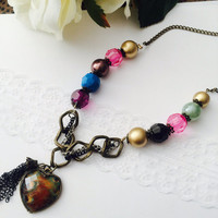 Peacock charm Necklace - beaded necklace, colorful