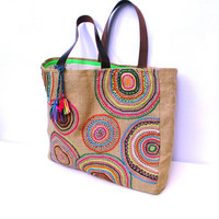 Embroidered tribal motives on jute tote bag, handmade, unique, boho, artistic,embroidered, resort, summer, beach  tote bag