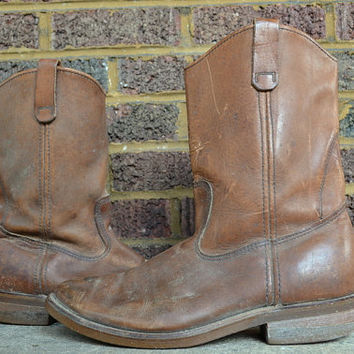 Vintage Classic Brown Leather Pecos Red Wing Pull On Work Boots size 10